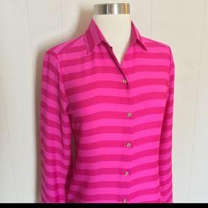 Banana Republic Pink Striped Button down